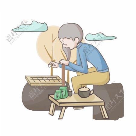 手绘休闲养生人物插画