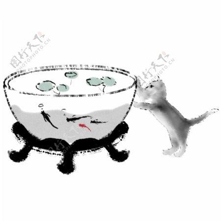 手绘中国风国画鱼缸水墨鱼猫