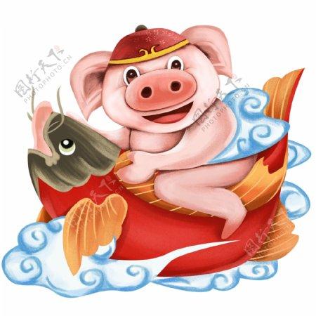 猪年插画中国传统