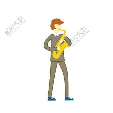 国际爵士乐日萨克斯卡通人物手绘