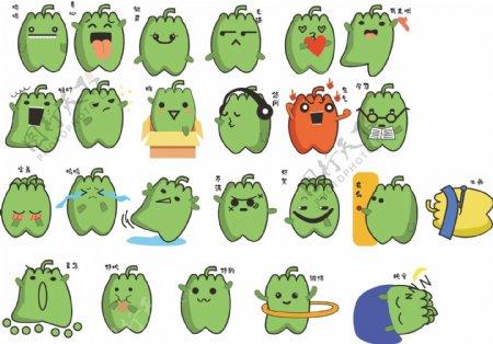 绿色的青椒小妖怪动态表情包