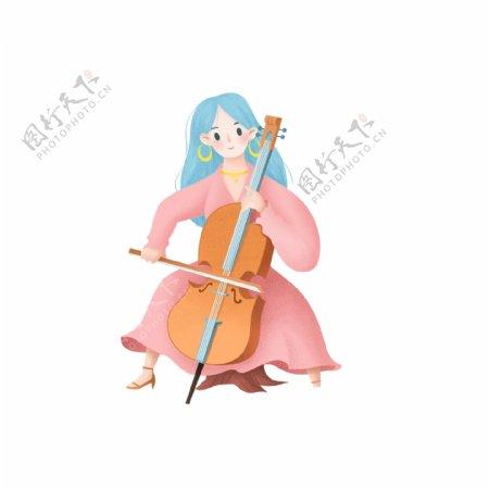 原创唯美大提琴女孩元素设计