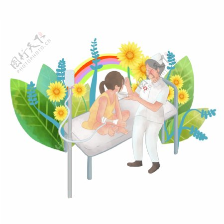 可商用护士照顾孩子生病喂粥