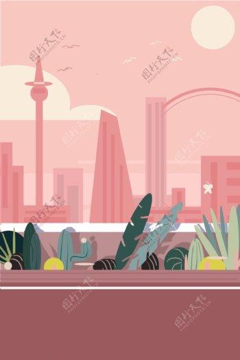 粉色夕阳城市中绿荫道旁的走廊卡通简约背景