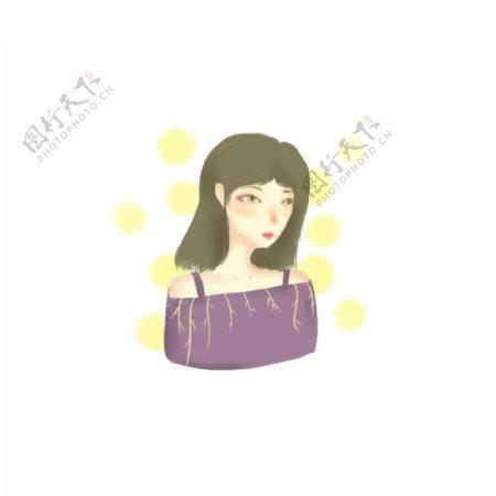 清新手绘紫衣短发女生