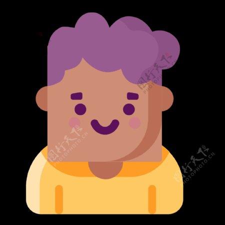 彩色扁平化创意短发男士元素