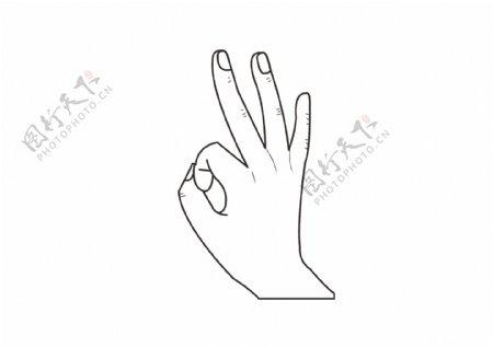 矢量创意手绘OK手势