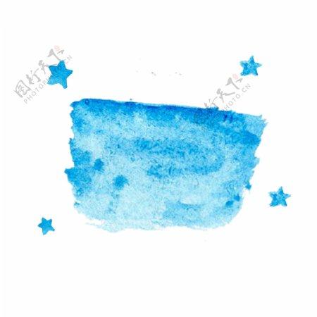 纹理边框元素标签水彩促销蓝色