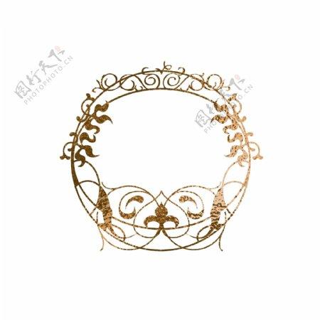 金箔金色圆形纹理边框
