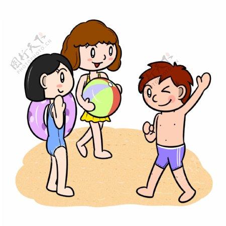 卡通夏季儿童沙滩嬉闹png透明底