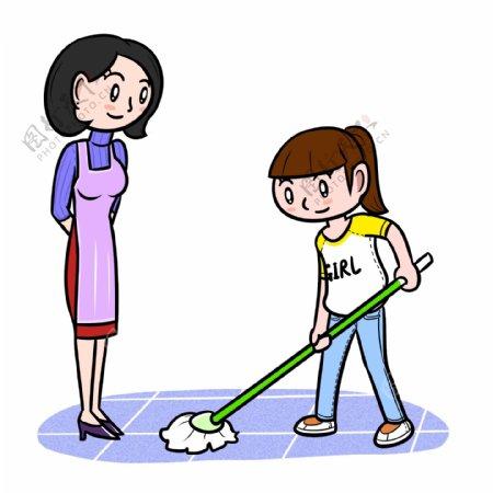 卡通母亲节帮妈妈做家务png透明底