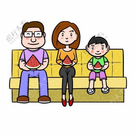 卡通夏季全家人吃西瓜png透明底