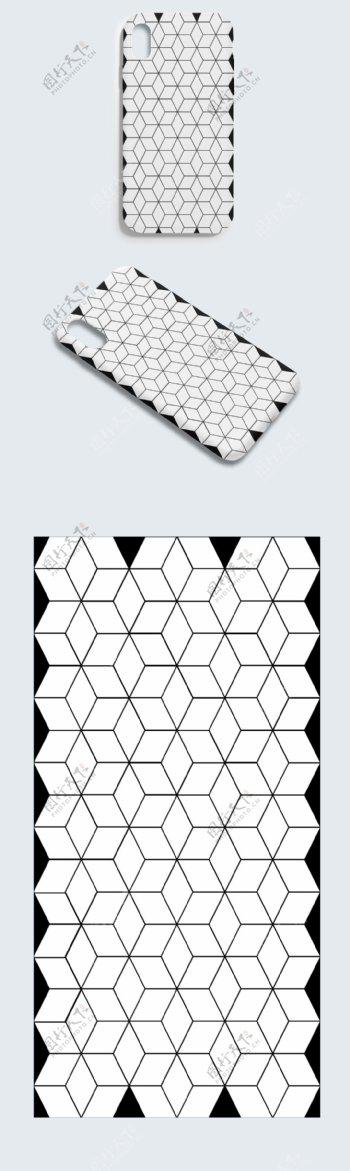 矢量AI格式线性方格黑白手机壳