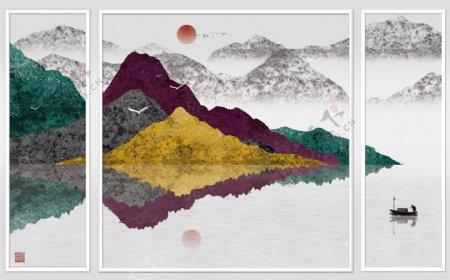 新中式大气抽象水墨山川风景背景墙