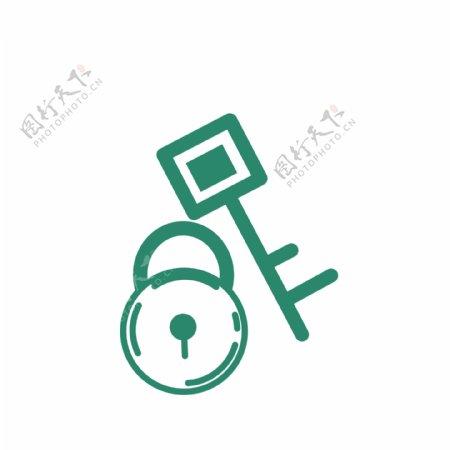 蓝色的锁头和钥匙图标矢量图GIF