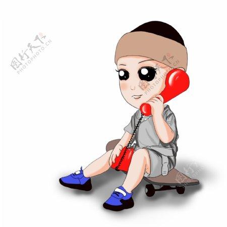 打电话的滑板男孩