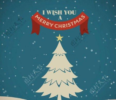 圣诞景观与白色树