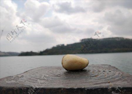 江水背景石头特写