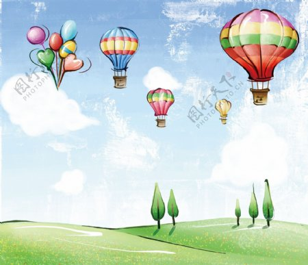 卡通气球背景墙