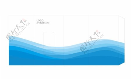 包装封套设计波浪蓝色背景