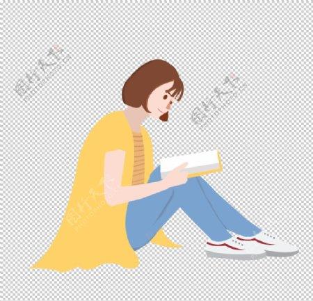 看书的短发女孩