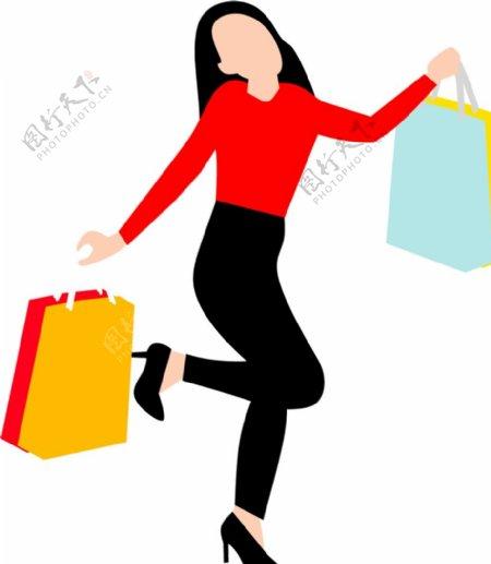 女性购物矢量剪影