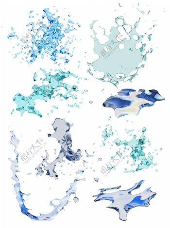 简约水浪花花纹元素素材
