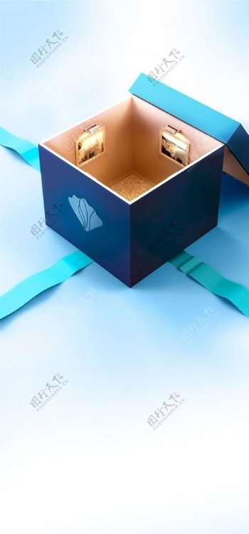 蓝色生日会礼盒底图