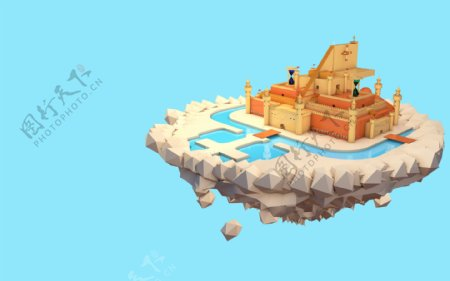城市城堡悬空梦幻蓝色背景素材