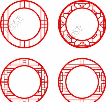 中国风园林窗花纹理CDR矢量图