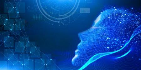 科技背景粒子光效虚拟人脸