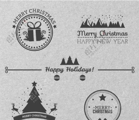 古典风格圣诞徽章