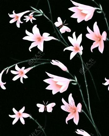 百合花手绘四方连续花纹