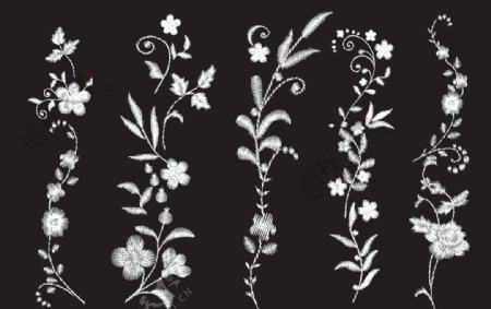 绣花矢量图黑白花朵