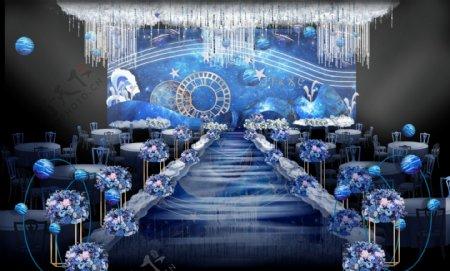 蓝色星空婚礼效果图背景3004