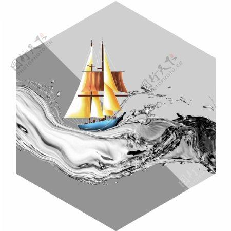 新中式大海帆船一帆风顺装饰画