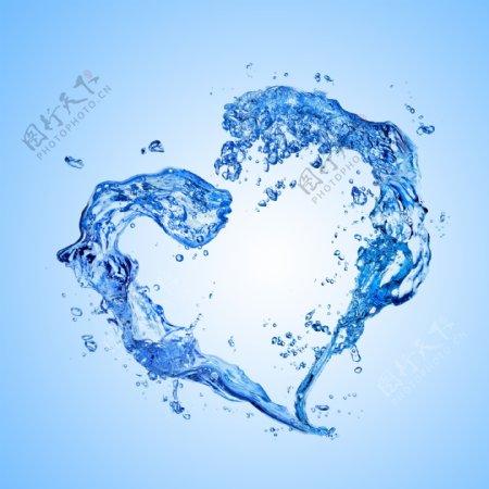 水浪水花抽象心形爱心矢量素材