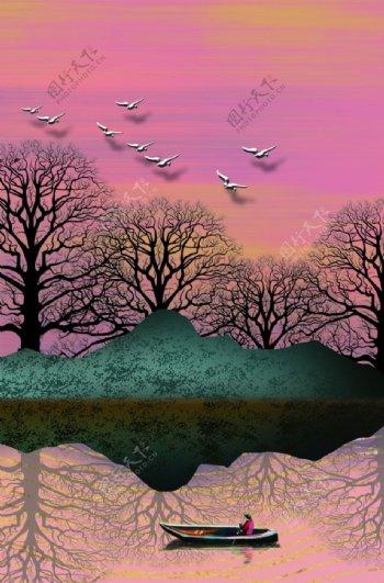 抽象山水装饰画