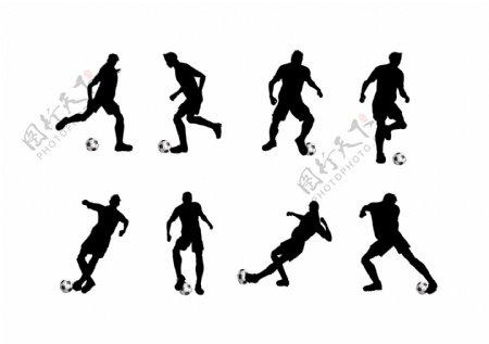 踢足球人物动作矢量剪影