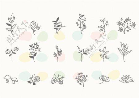 卡通花朵矢量图