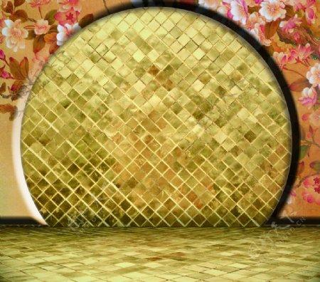 古代屏风墙壁金色砖