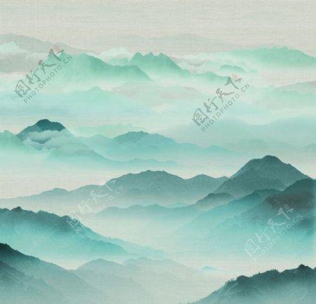 新中式背景墙意境山水新中式