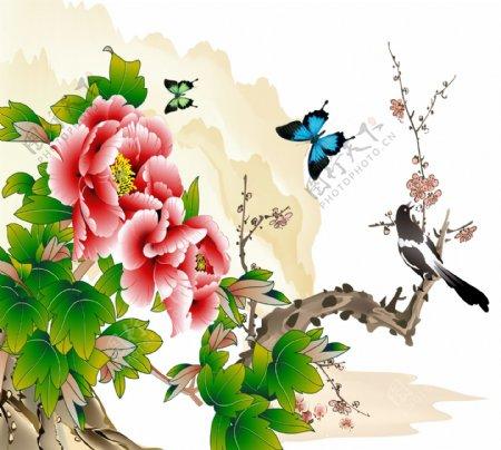 牡丹花富贵图水墨画喜鹊蝴蝶壁画