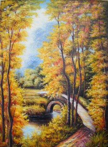 枫树林油画风景画装饰画背景墙