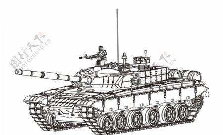 矢量坦克线条坦克军事坦克图片