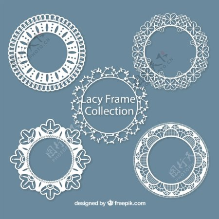 圆形蕾丝框架图片