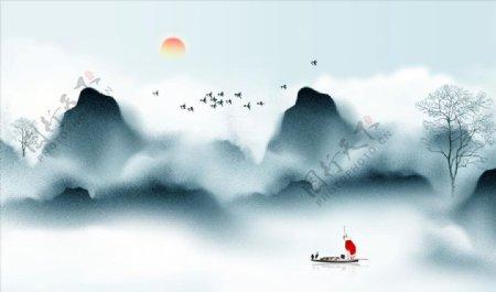 禅意山水风景画图片