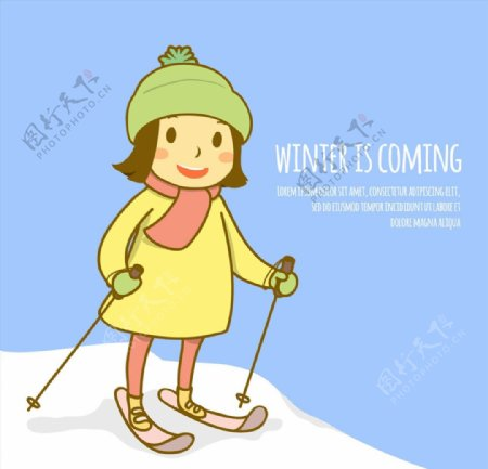 滑雪的短发女孩图片