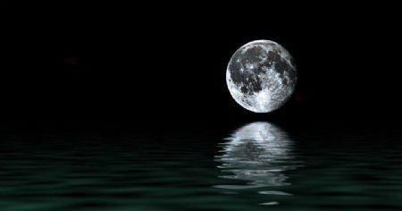 月亮海洋海水夜色海报背景素材图片