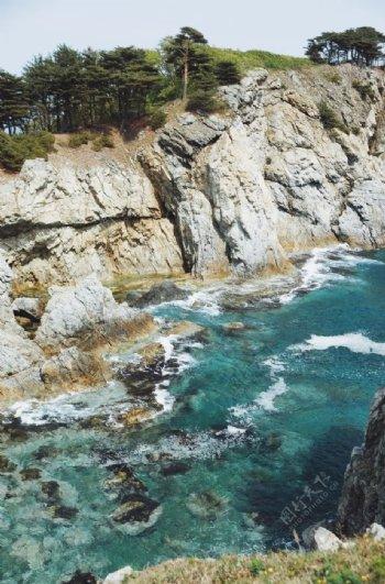 海水山峰户外风景背景海报素材图片